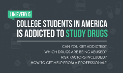 one in every five college students in the united states are addicted to study drugs. xanax is the most common. learn the facts on the causes and how to get help.