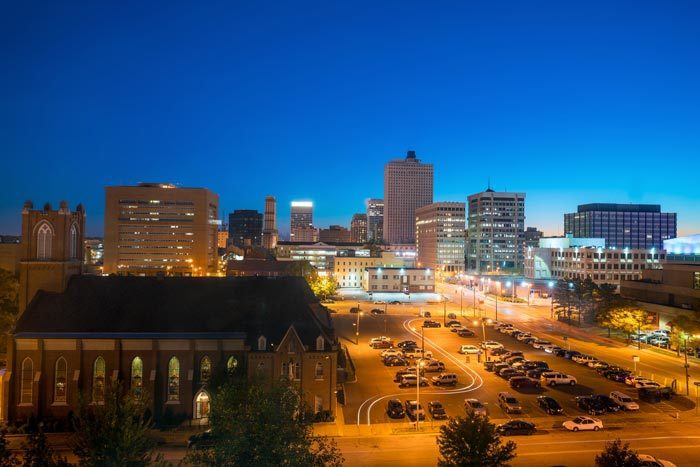 Downtown Memphis at dusk