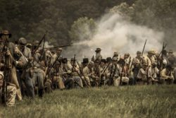 confederate soldiers in civil war reenactment