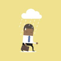 illustration of businessman walking under a rain cloud