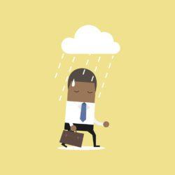 illustration of businessman walking under a rain cloud