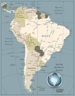 highly detailed map of south america