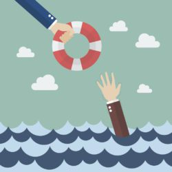 illustration of hand offering other hand a life-preserver