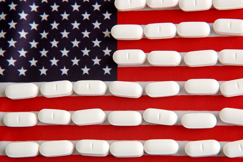 United States flag and pills