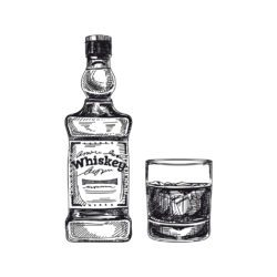 illustration of whiskey bottle and tumbler